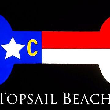 Topsail Beach NC dog bone sticker  by barryknauff