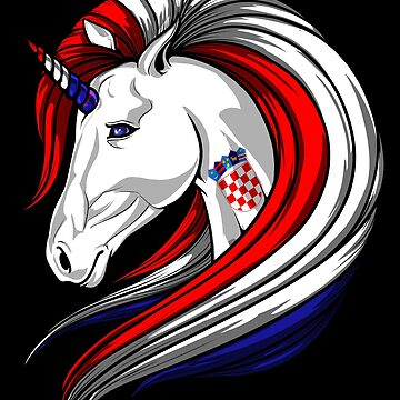 Croatia Flag Unicorn Croatian Flag DNA Heritage Roots Gift  by nikolayjs