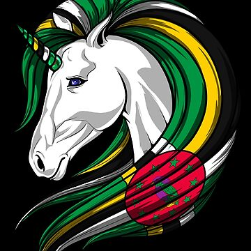 Dominica Flag Unicorn Dominican Flag DNA Heritage Roots Gift  by nikolayjs