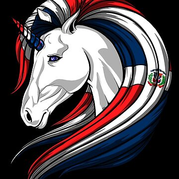 Dominican Republic Flag Unicorn Dominican Flag DNA Heritage Roots Gift  by nikolayjs