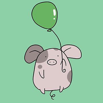 Green Balloon Spotted Pig by SaradaBoru