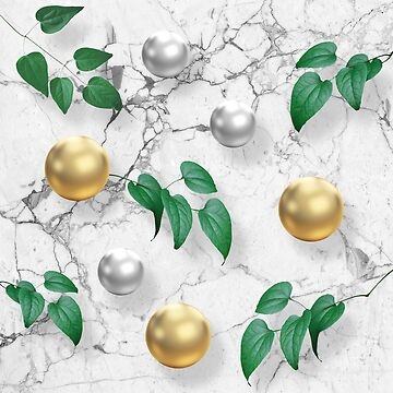 Marble, Gold Spheres and Foliage by vinpez