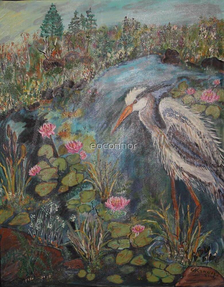 Heron ,master of the water lillie pond  Acrylic on canvas20x24 by eoconnor