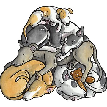 Sleeping pile of Whippets by animalartbyjess