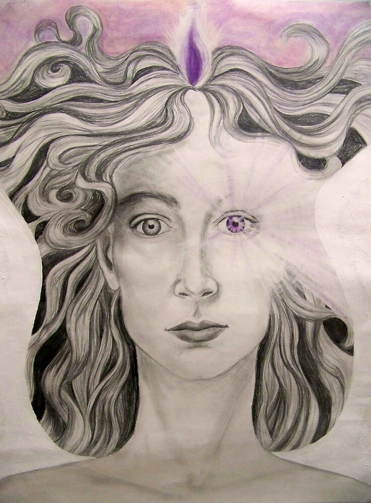 Angel of the Violet Flame pencil and pasel on paper by margotmythmaker