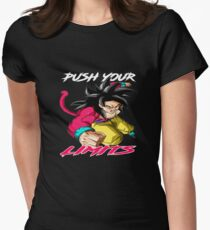 """Goku SSJ4 """"Push Your Limits"""" White/Red Letter Women's Fitted T-Shirt"""