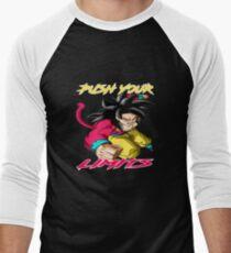 "Goku SSJ4 ""Push Your Limits"" Yellow/ Red Letter Men's Baseball ¾ T-Shirt"