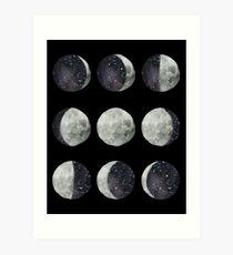 Moon Phases - Moon shirt - Moon dress - Moon sticker- Watercolor & Ink  Art Print