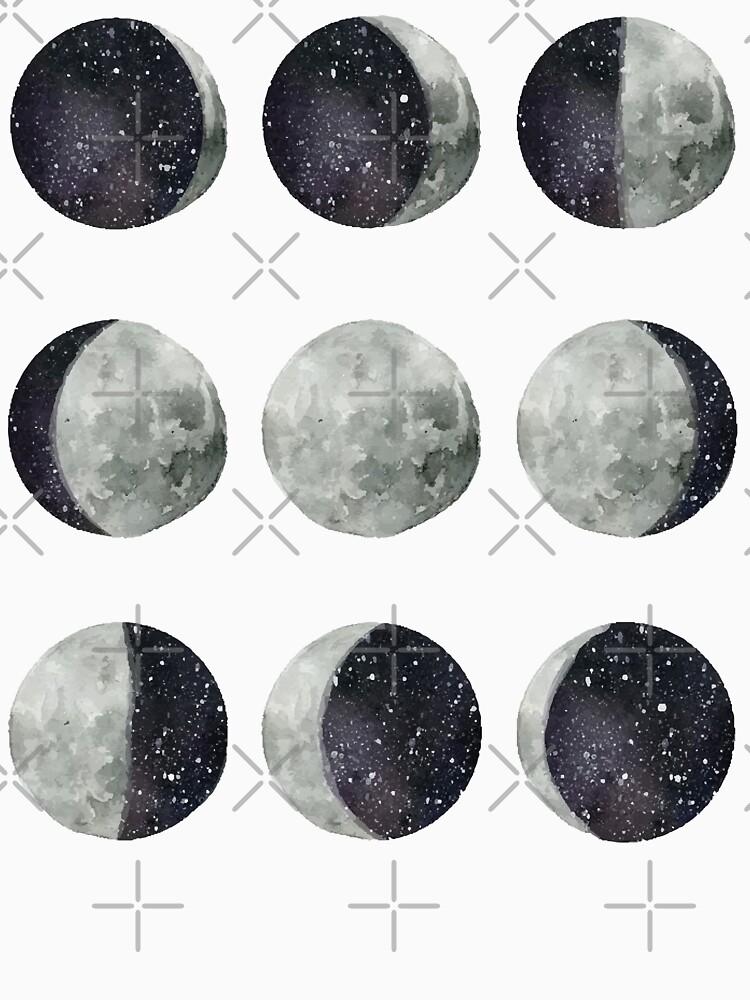 Mondphasen - Mond Shirt - Mond Kleid - Mond Aufkleber - Aquarell & Tinte von WishingInkwell