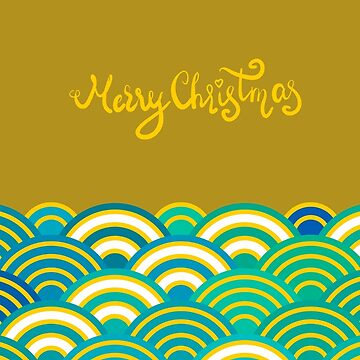 Seigaiha or seigainami literally means wave of the sea. Merry Christmas card abstract scales golden yellow blue green japanese circle pattern.  by EkaterinaP