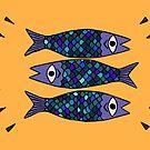 Three blue sardines illustration by RedFinchDesigns