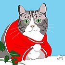 Christmas Pudding Cat by emilydevineart
