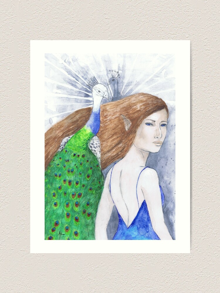 Alternate view of Fairy and peacock Art Print