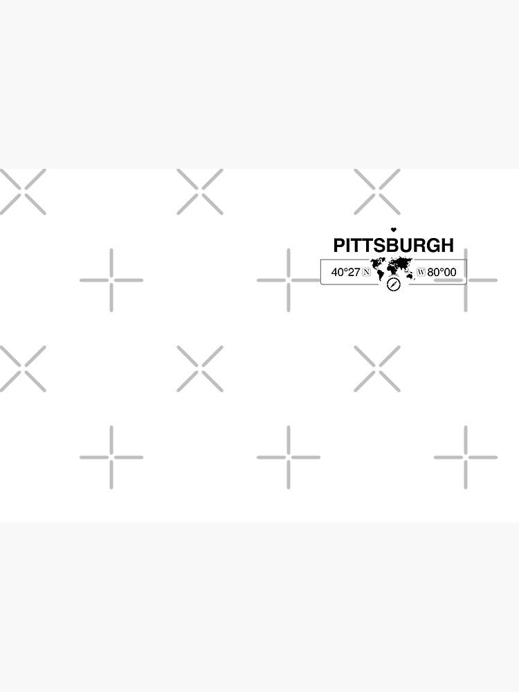 Mapa de Pittsburgh, Pensilvania, GPS, obras de arte con brújula de Map-Your-World