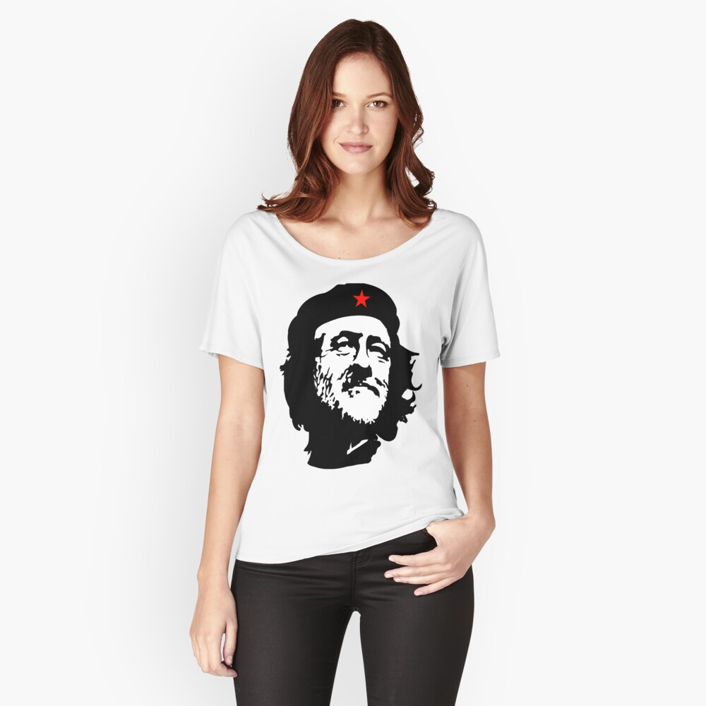 CORBYN, Comrade Corbyn, Election, Leader, Politics, Labour Party, Black on White Loose Fit T-Shirt