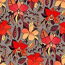 Red Tropical Floral  by TigaTiga