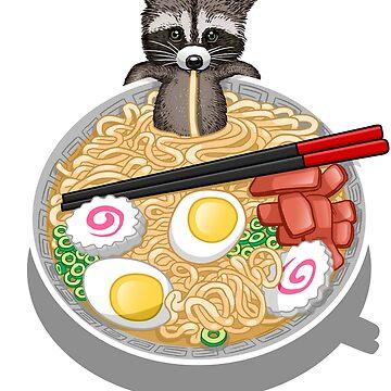 Raccoon eating ramen noodles by albertocubatas