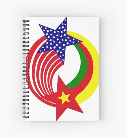 Cameroon American Multinational Patriot Flag Series Spiral Notebook