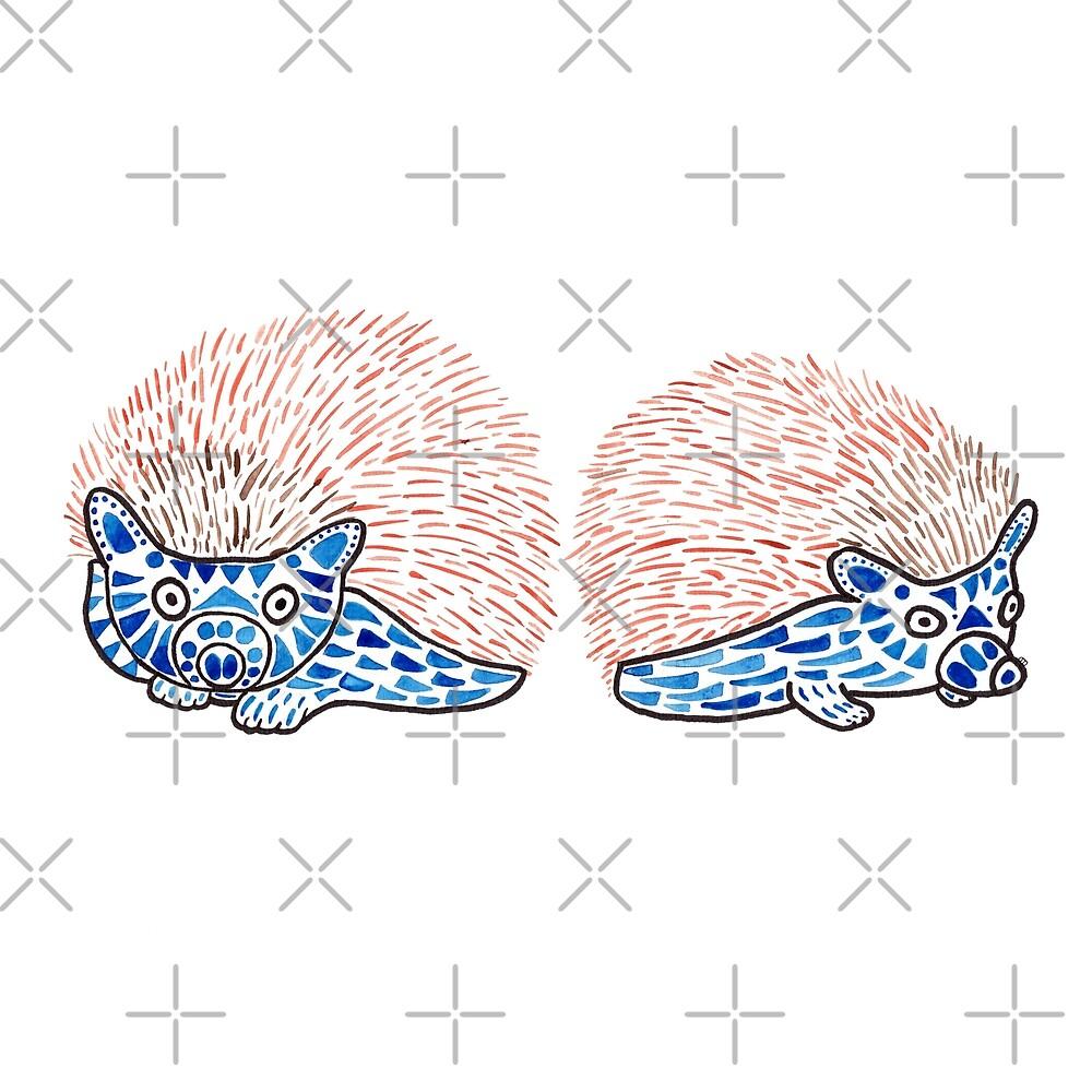 Watercolor Art | Hedgehogs! by coloringiship