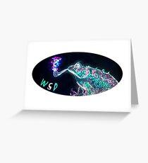 Weit verbreitetes Panik-psychedelischer Frosch Grußkarte