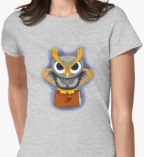 Owl and his book Womens Fitted T-Shirt