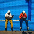 Two Men Reading Newspapers by vrphotographysa