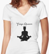 Yoga Queen Women's Fitted V-Neck T-Shirt