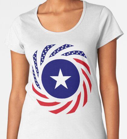 Liberian American Multinational Patriot Flag Series Premium Scoop T-Shirt