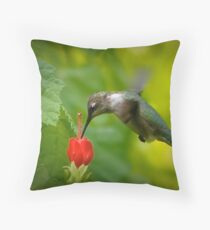 Nature's Hummingbird Feeder Throw Pillow