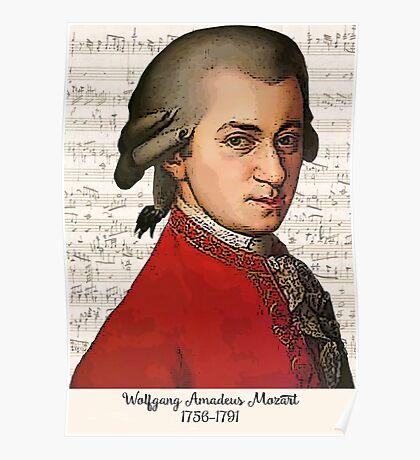Wolfgang Amadeus Mozart Grunged Poster