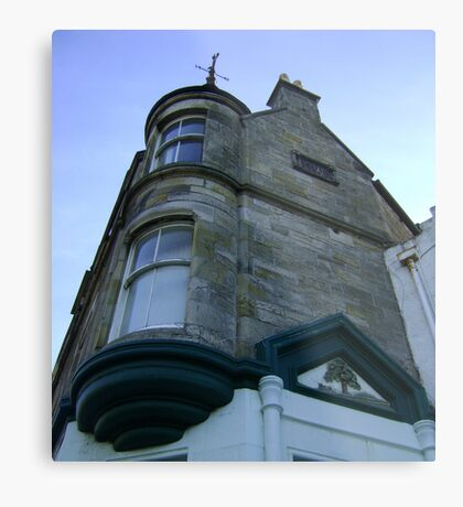 the waiting windows (glass and stone curved, turret, Burntisland) Metal Print