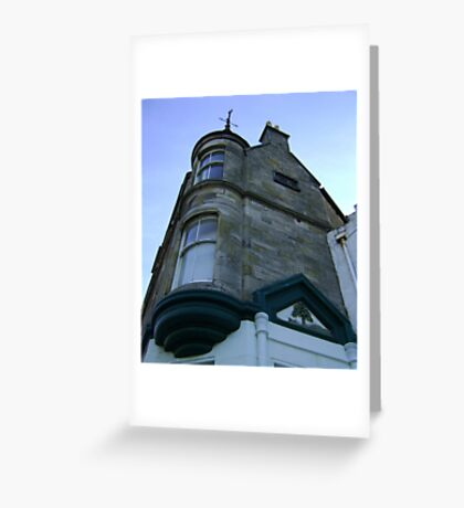 the waiting windows (glass and stone curved, turret, Burntisland) Greeting Card