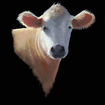 Simmental Cow on Black: Farm Animal, Realism, Oil Pastel Art by Joyce