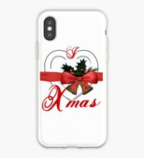 i love xmas - heart with christmas bells iPhone Case