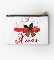 i love xmas - heart with christmas bells Studio Pouch
