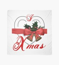 i love xmas - heart with christmas bells Scarf