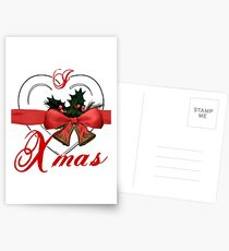 i love xmas - heart with christmas bells Postcards