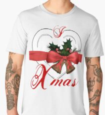 i love xmas - heart with christmas bells Men's Premium T-Shirt