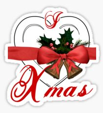 i love xmas - heart with christmas bells Sticker