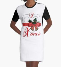 i love xmas - heart with christmas bells Graphic T-Shirt Dress