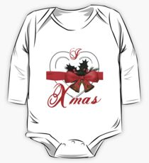 i love xmas - heart with christmas bells One Piece - Long Sleeve