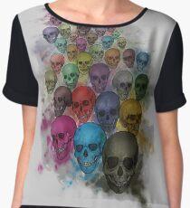 multi-colored skulls, art Chiffon Top