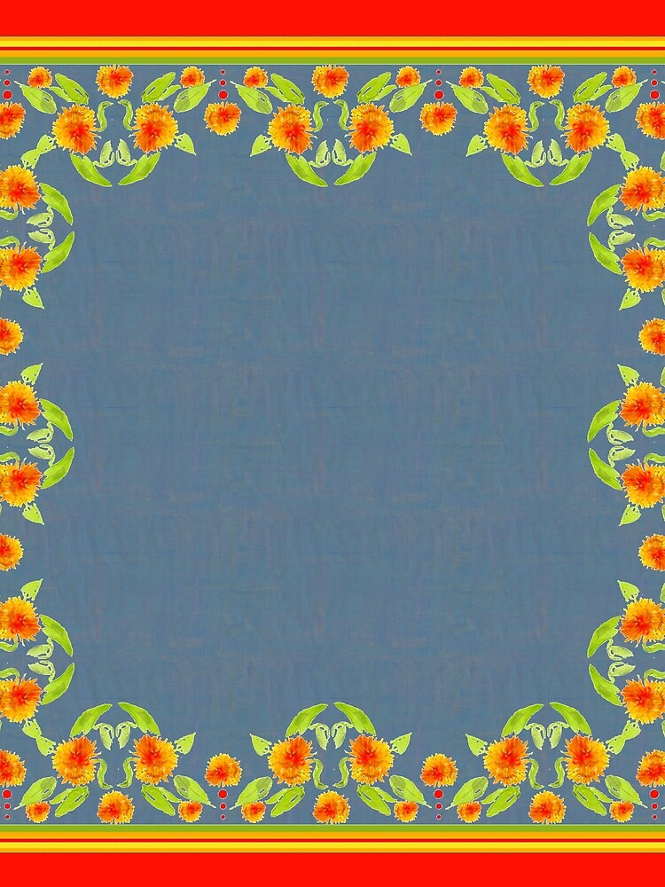 Country Style Marigolds Border on Indigo with Red Edging by helikettle