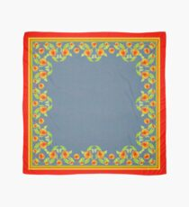 Country Style Marigolds Border on Indigo with Red Edging Scarf