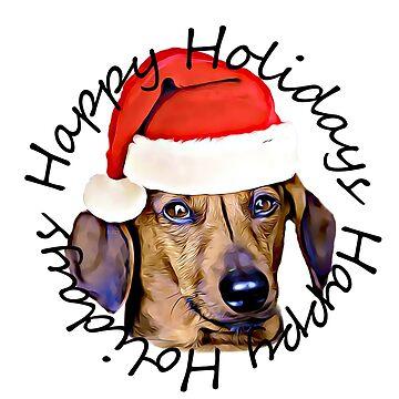 Happy Holidays Christmas Dachshund dog by ritmoboxers