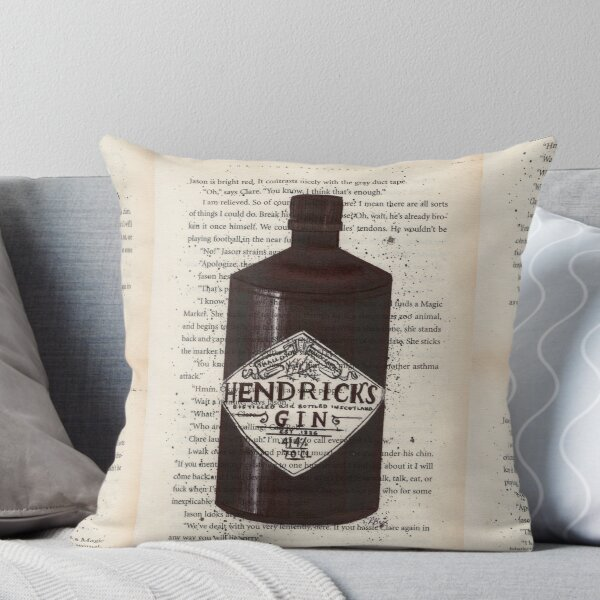 Hendrick's Gin Print, Gin Print, Book Page Print, Drawing, Gin Art, Gin Illustration, I Throw Pillow
