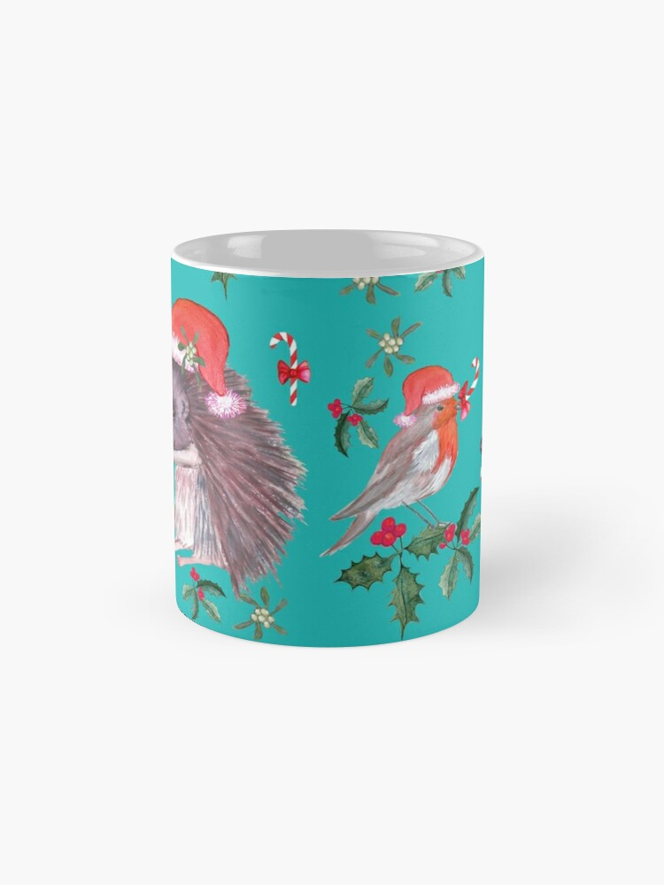 Alternate view of Hedgehog Santa and Robin Santa Christmas, Holidays Classic Mug