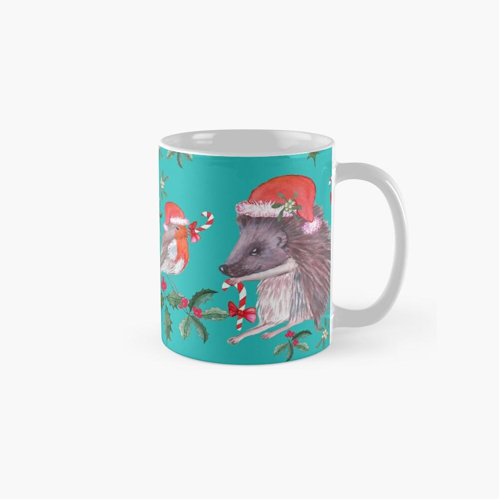 Hedgehog Santa and Robin Santa Christmas, Holidays Classic Mug