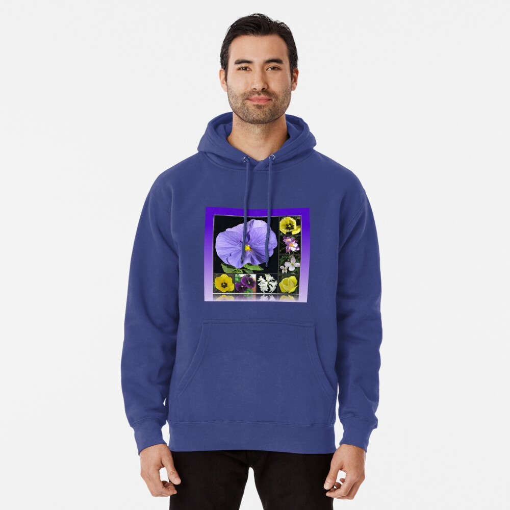 Spring Flowers Collage in Blue and Yellow Hoodie
