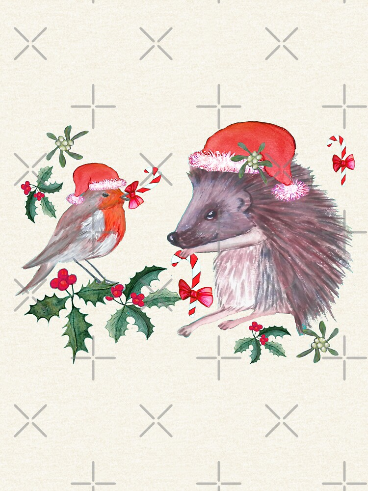 Hedgehog Santa and Robin Santa Christmas, Holidays by MagentaRose